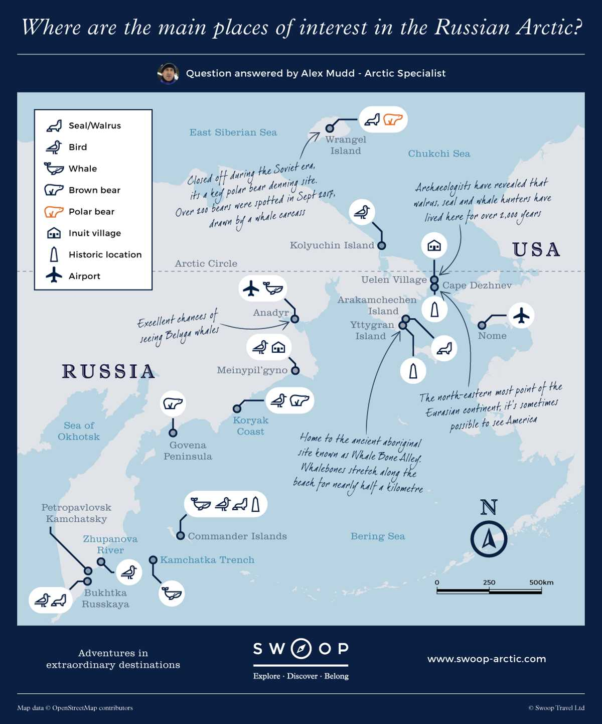 Places of interest in the Russian Arctic