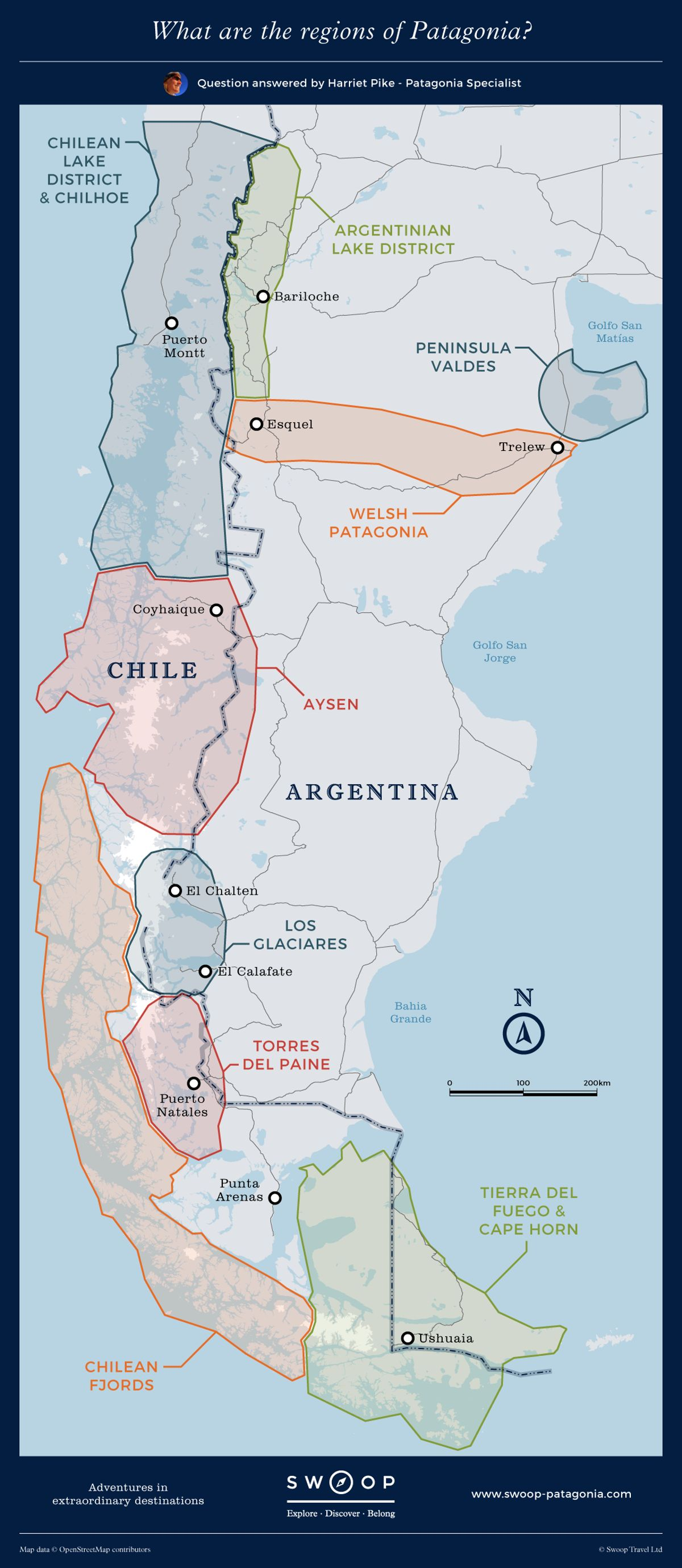 What are the regions of Patagonia?