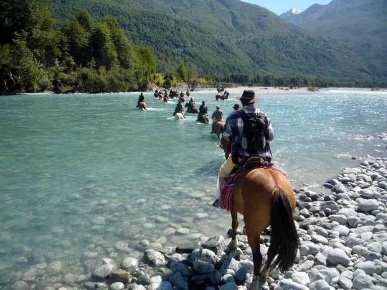 Horses Crossing Puelo River - OPEN